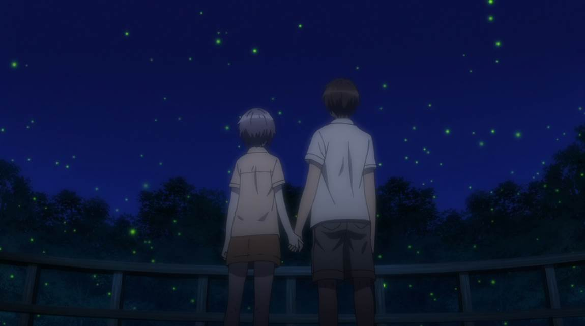 Kyon and Yuki hold hands