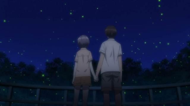 Kyon and Yuki hold hands